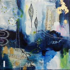 Deep Blue I || Original Abstract Mixed Media Painting 6x6