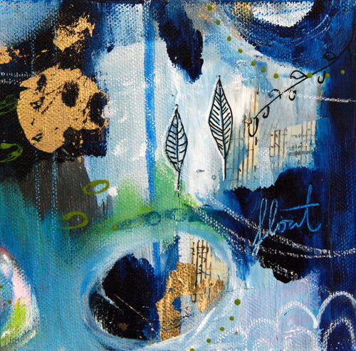 Deep Blue IV || Original Abstract Mixed Media Painting 6x6