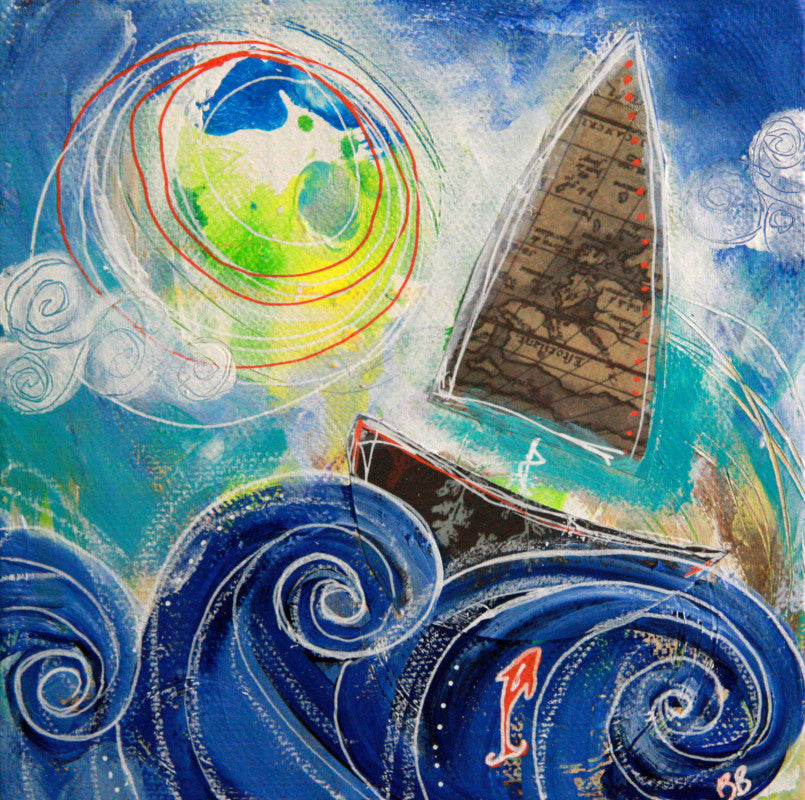 Seeking Adventure III || Original Whimsical Nautical Mixed Media Painting 6x6