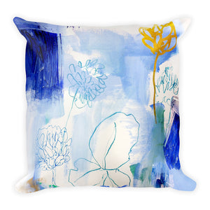 Blue Clover Square Pillow