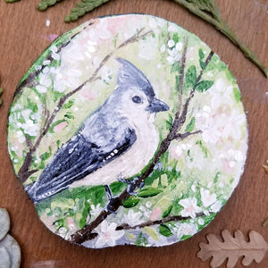 Tufted Titmouse Wood Round