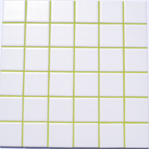 Avocado colored grout.