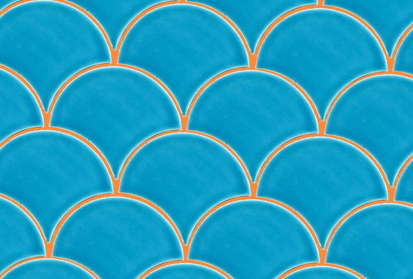 Orange Grout with Blue Scallop tile by Grout360