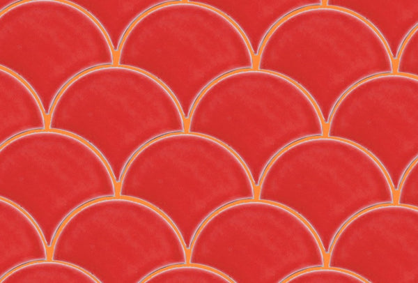 Orange Grout with Red Scallop tile by Grout360