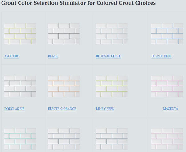 Grout Colors Color Selector