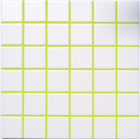 Lime colored grout.