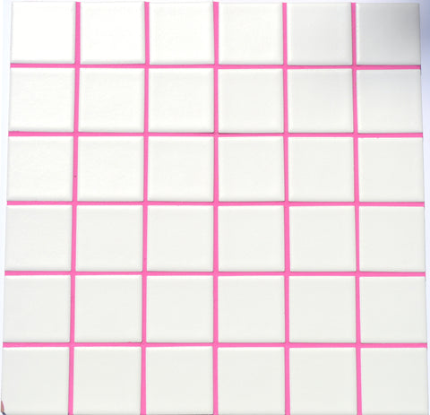 Magenta colored grout.