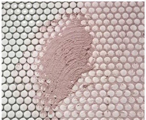 Pink Tile Grout with Penny Round Mosaic Tiles