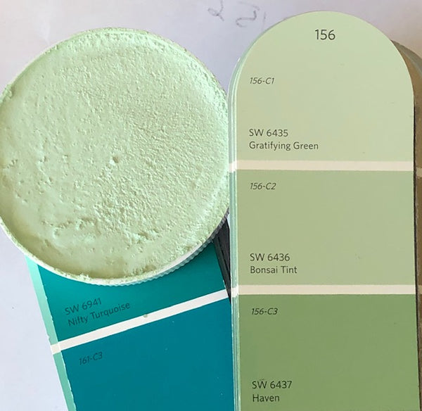 XT matched to SW 6435 Gratifying Green Sanded Tile Grout