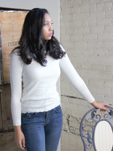 The Miriam Lace Sweater in White