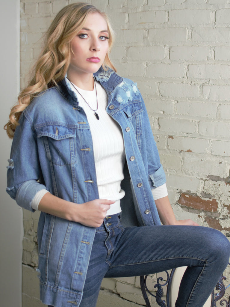 The Alison Distressed Denim Boyfriend Jacket