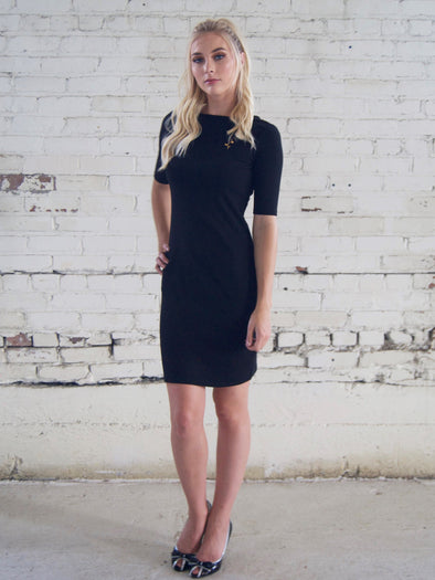 Black Knit Dress with White Bow