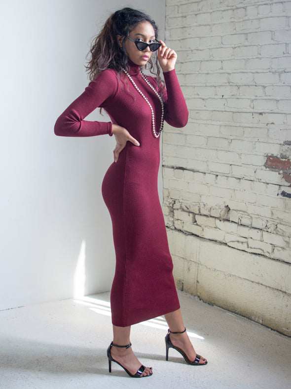 The Josephine Sweater Dress in Wine