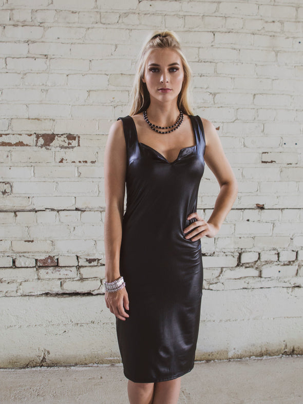 Long Vegan Leather Dress