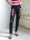 The Bobbi Jo Ripped Embroidered Jeans in Black