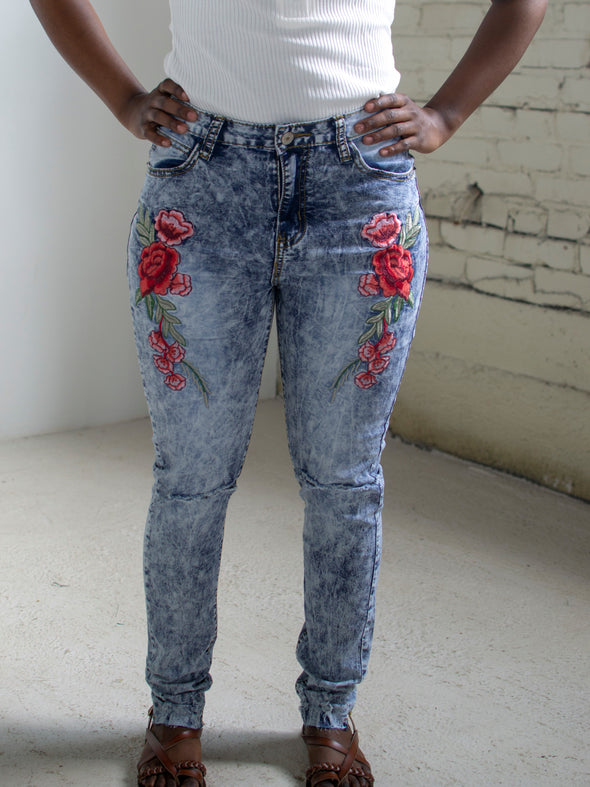 The Bobbi Jo Ripped Embroidered Jeans in Blue