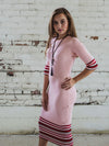 Pink Knit Color Block Dress