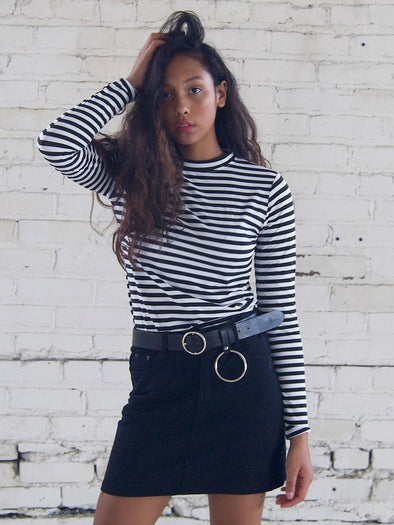 Striped Mock T-Neck
