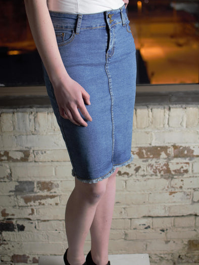 The Amanda Denim Skirt in Faded Blue