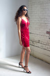 The Venus Spaghetti Strap Dress in Red Velvet