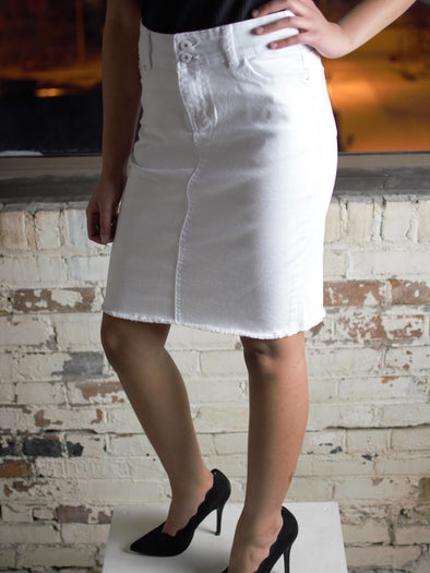 The Amanda Denim Skirt in White