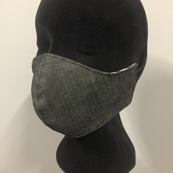 Eloise the label black denim fabric face mask