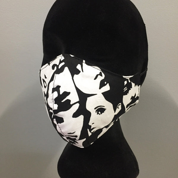Eloise the label cotton fabric face mask in black and white faces