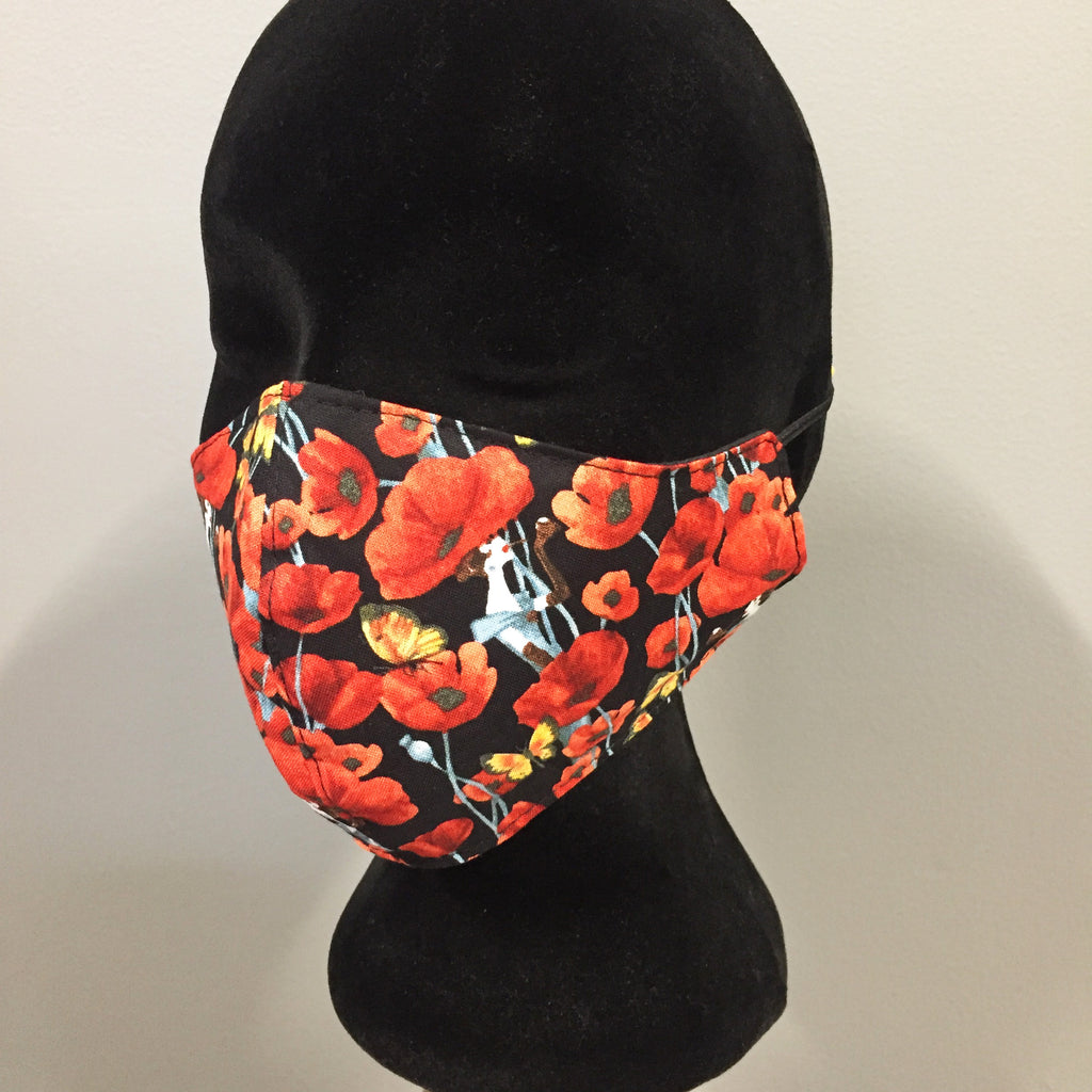 Eloise the label cotton fabric face mask in poppy lady