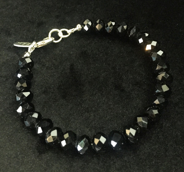 Eloise the label beaded stacking bracelet in faceted cut glass in jet black