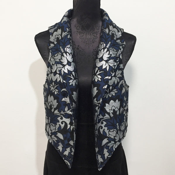 Eloise the label Nikita vest in deep blue withnsilver accents