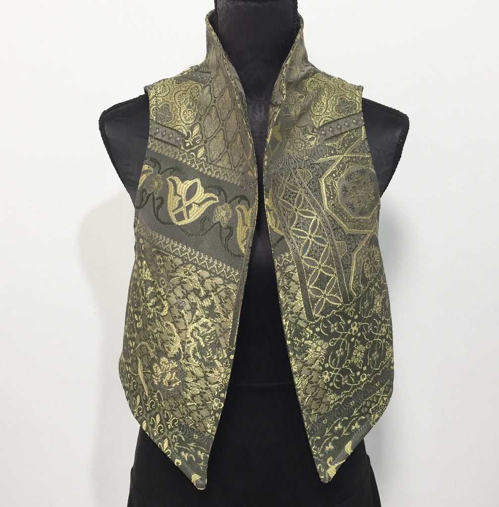 Eloise the label Nikita Vest in olive tapestry.