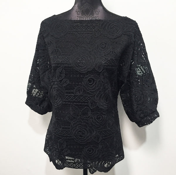 Eloise the label Sweet Talk Top in a heavy black lace