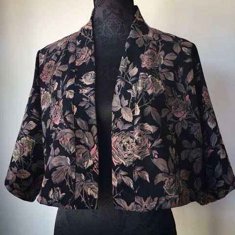 Eloise the label cropped length jacket in a black cotton velvet with dusty rose print