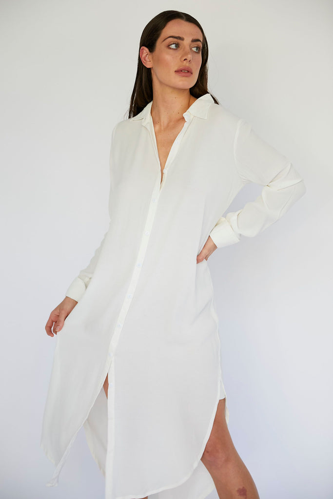EDDIE SHIRT DRESS - IVORY