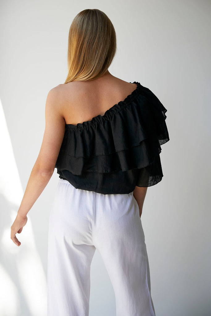 THASSIA ONE SHOULDER TOP - BLACK