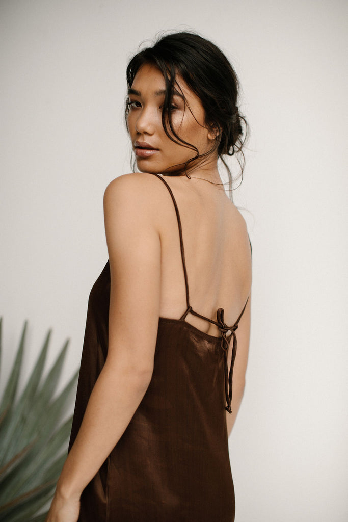 PALOMA SLIP DRESS - CHOCOLATE