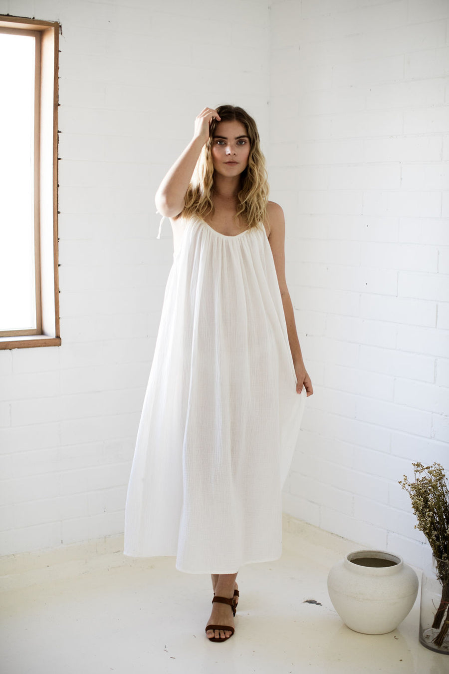 LOLA MIDI DRESS - OFF WHITE