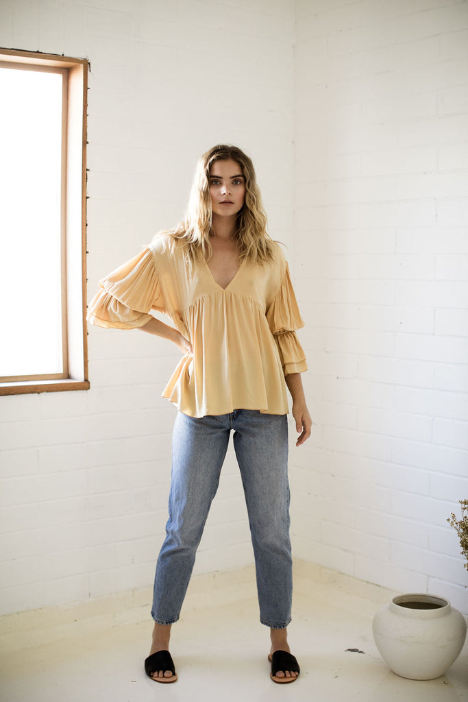 CHLOE TOP - MUSTARD GOLD