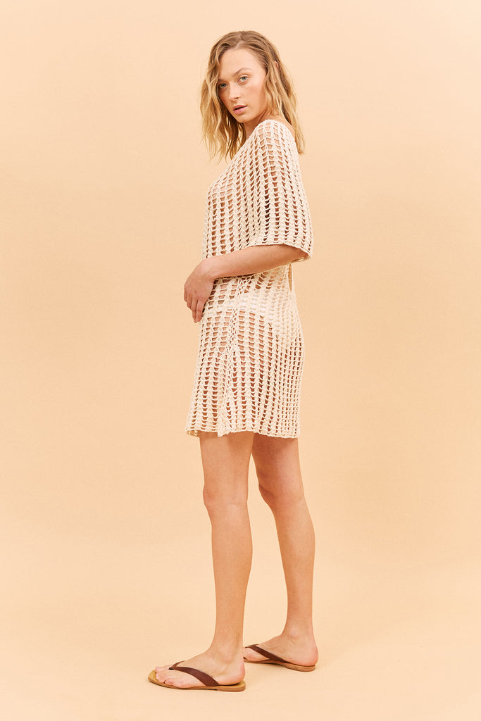MAIDEN CROCHET DRESS - SAND