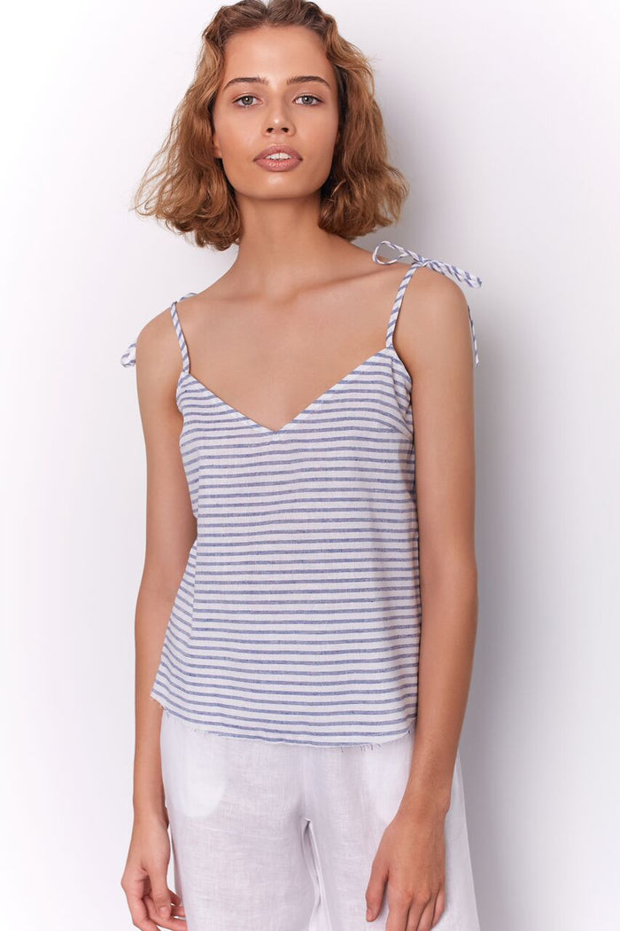 ARDEN TOP - BLUE STRIPE