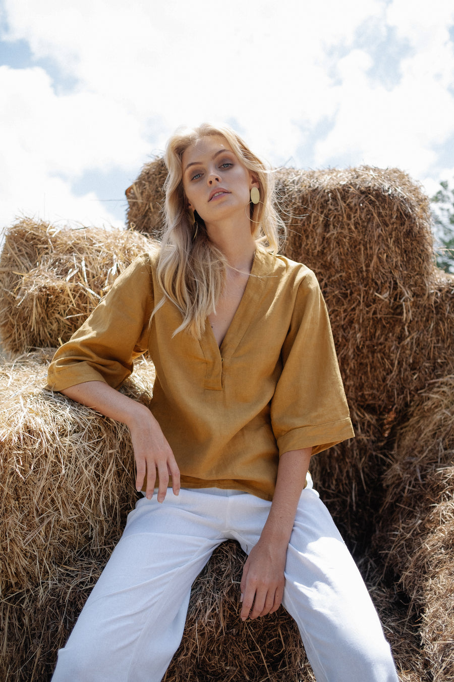 BOWIE BLOUSE - MUSTARD