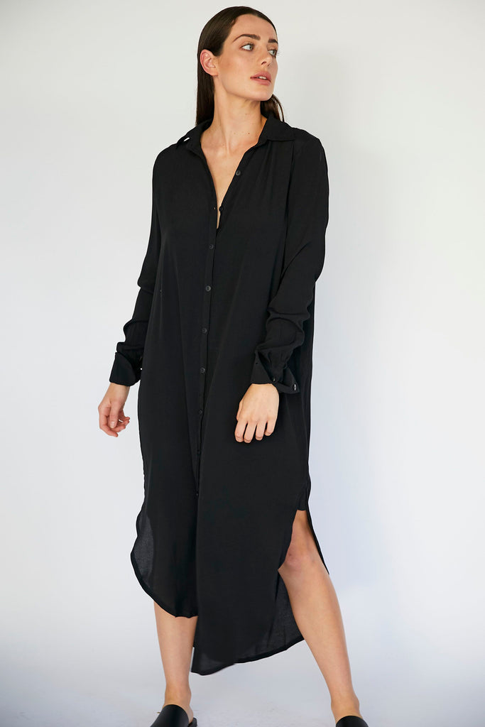 EDDIE SHIRT DRESS - BLACK