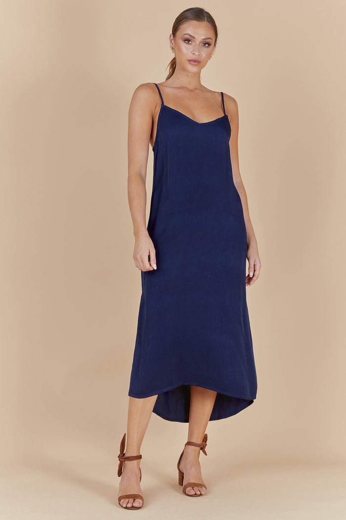 PALOMA SLIP DRESS - BLUE NAVAL