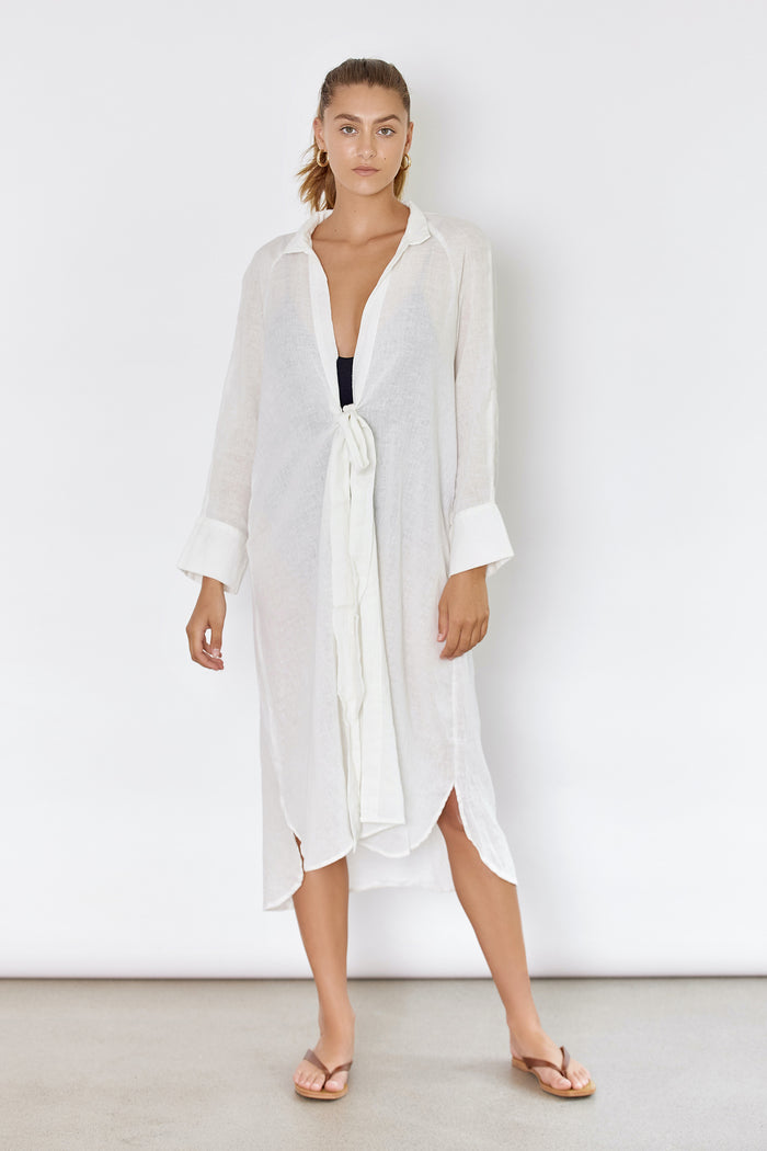 RAE SHIRT DRESS - OFF WHITE