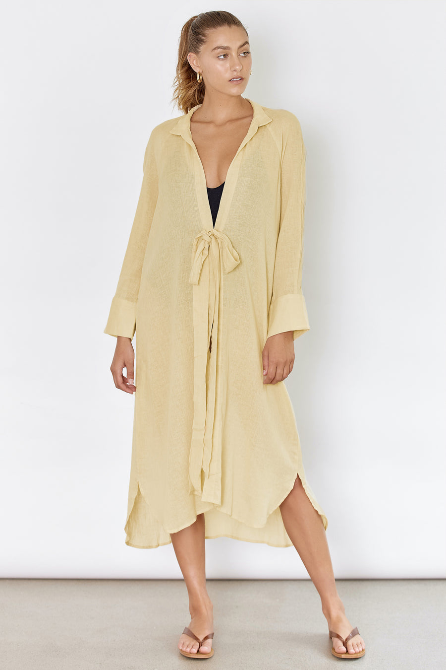 RAE SHIRT DRESS - YELLOW BONE