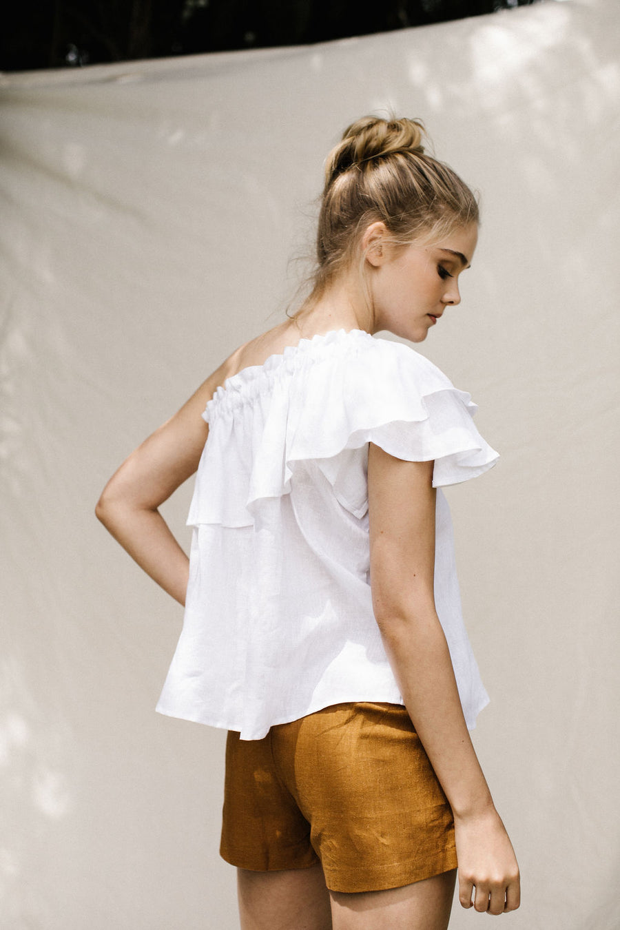 TUSCAN ONE SHOULDER TOP - WHITE