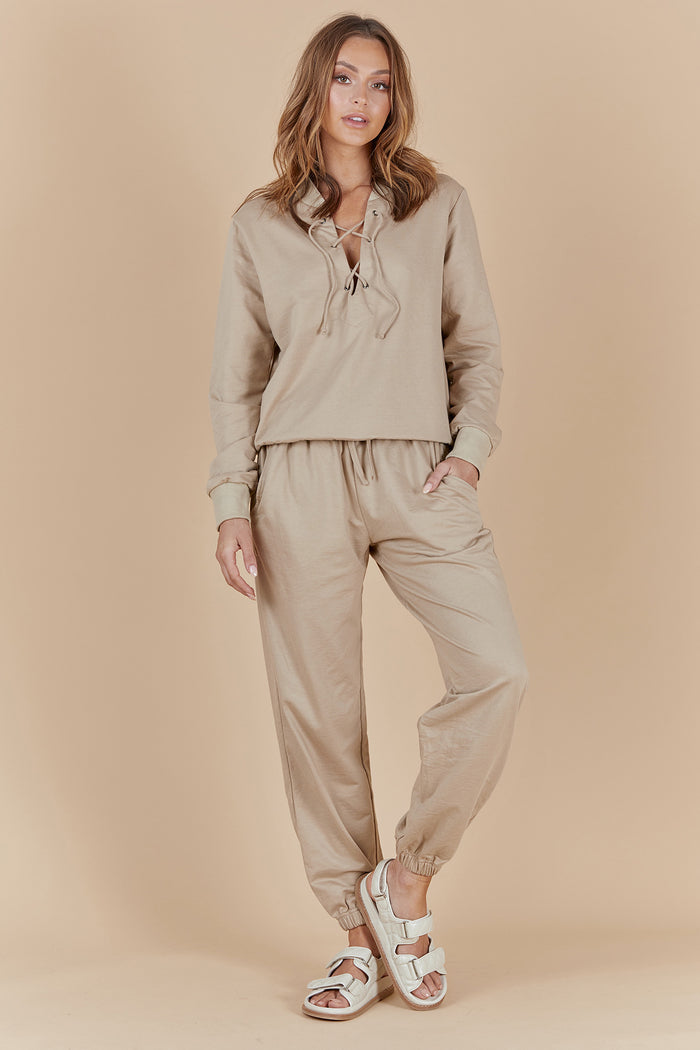 TATE LOUNGE PANTS - DARK ALMOND