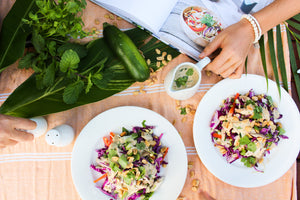 Summer raw satay pad thai salad