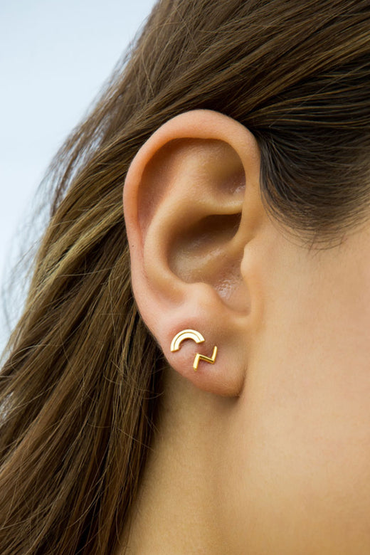 Rainbow Gold Stud Earring