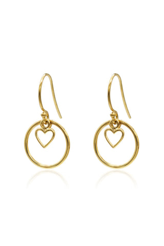 Heart Halo 14k Gold Plate Earrings